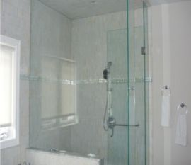 Glass Shower Door With A Massive Glass Wall