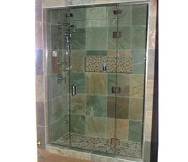 Single Glass Shower Door with 2 In-line Panels